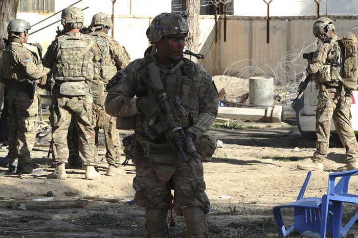 US troops arrive at the site of a Taliban suicide attack in Spin Boldak district of Kandahar province (Reuters)