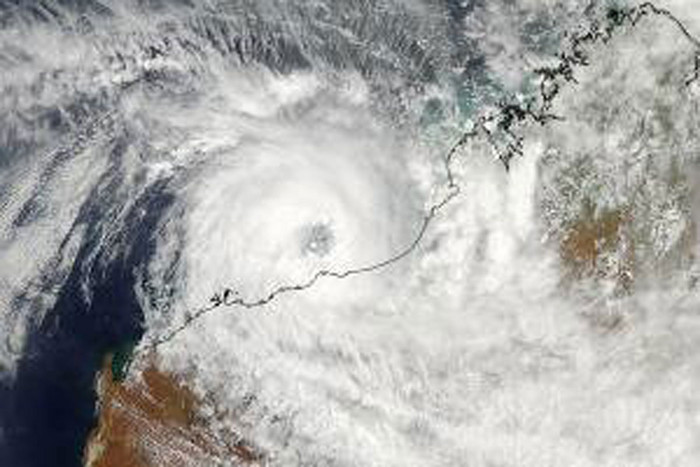 A satellite image shows Cyclone Rusty over West Australia (Photo: NASA)