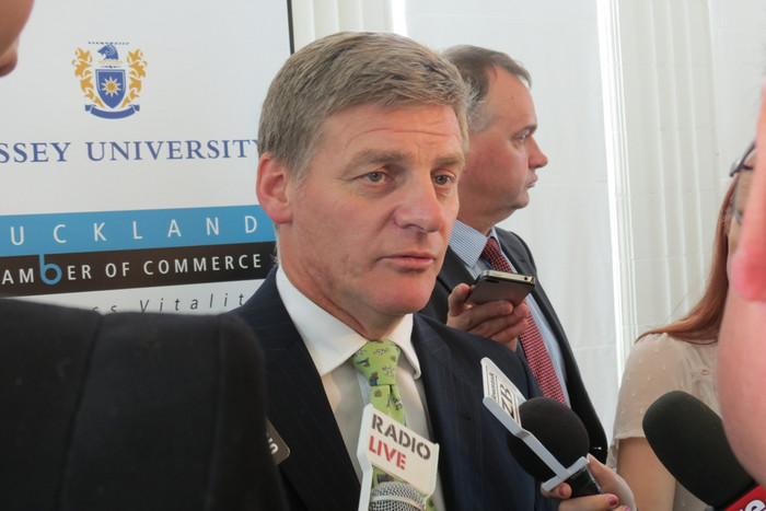 Finance Minister Bill English in Auckland today (Photo: Imogen Crispe / 3 News)