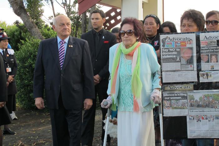 Titewhai Harawira escorts philanthropist Sir Owen Glenn onto the marae (Photo: Kim Choe/3 News)