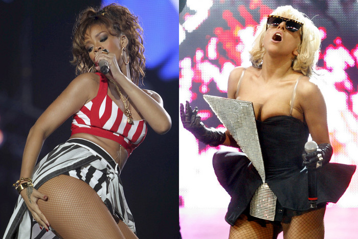 Rihanna (AAP) and Lady Gaga (Reuters) performing in costumes CBS may not want at the Grammys