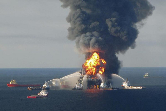 The blazing remnants of the offshore oil rig Deepwater Horizon, off Louisiana, on April 21, 2010 (Reuters)