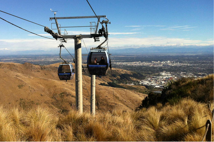 A cable car nears the top station this morning (Photo: Hamish Clark)