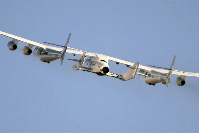 Virgin Galactic's SpaceShipTwo, still mated to mated to its carrier aircraft WhiteKnightTwo (Reuters)