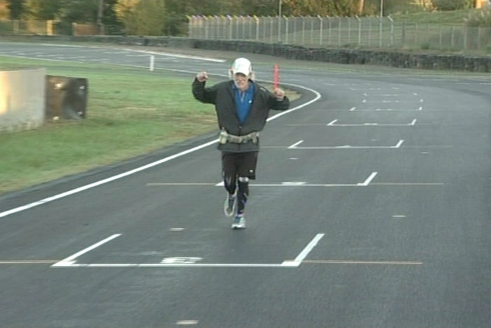 Perry crossing the finishing line