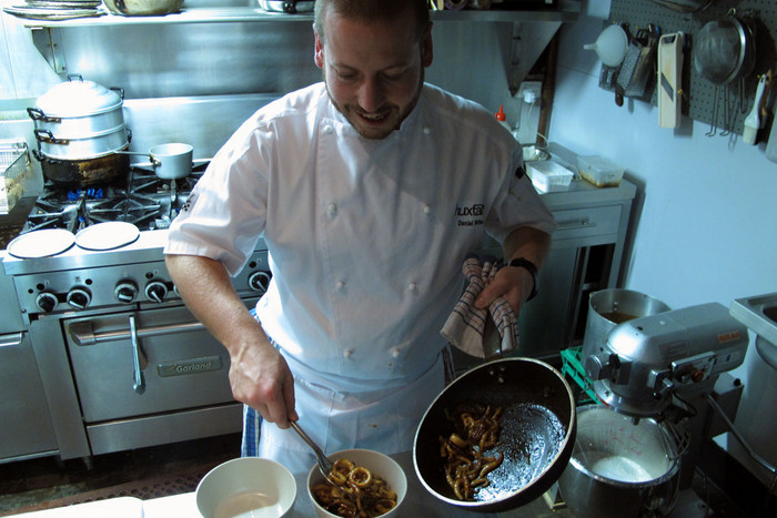 Daniel Wilson at work in the Huxtable kitchen (Photo: Kim Choe/3 News)