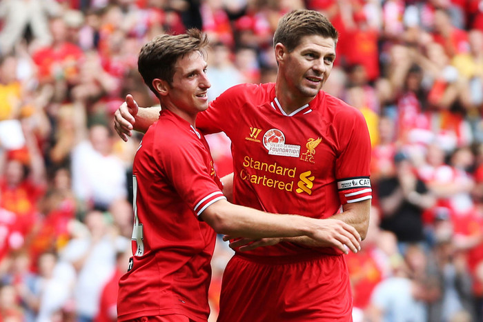 Steven Gerrard and Joe Allen (AAP)
