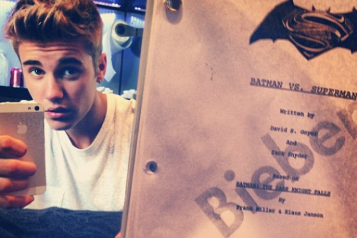 Bieber posted this photo to his Instagram showing a script for Batman vs. Superman