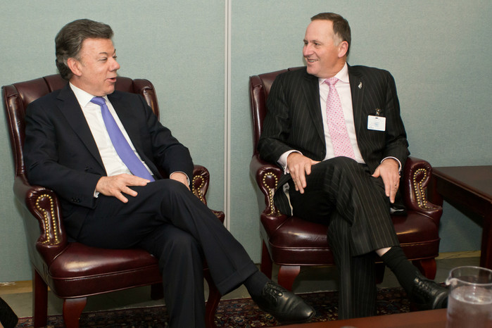 John Key meets Columbian President Juan Manuel Santos (Photo: Tilly Blair)