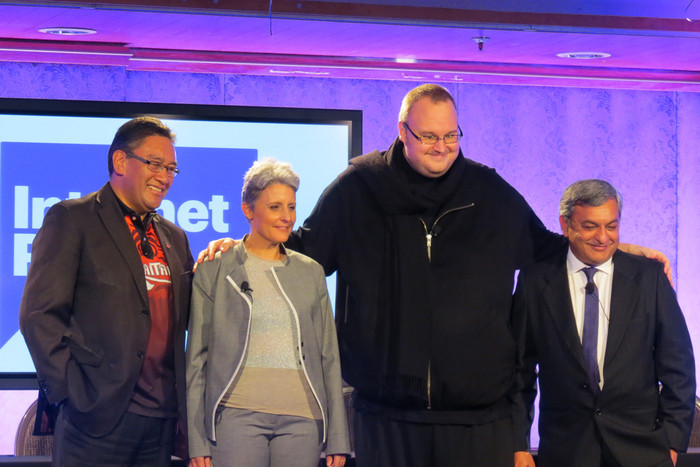 Internet Party candidates Hone Harawira, Laila Harre, founder Kim Dotcom and chief executive Vikram Kumar (Photo: Briar Marbeck)