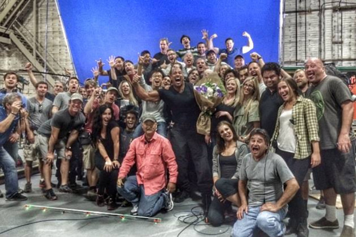 Dwayne 'The Rock' Johnson with the crew of Fast & Furious 7 (Facebook.com)
