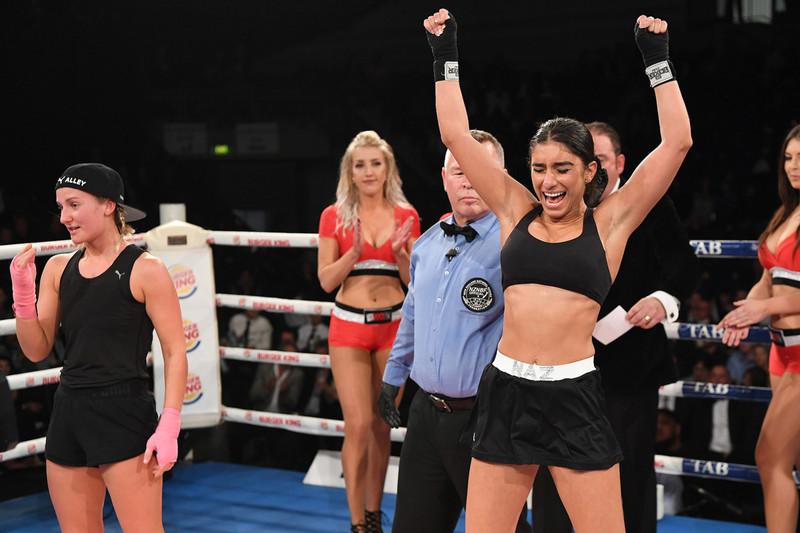 Naz Khanjani celebrates her win over Bella Henry (Photosport)