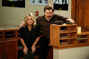Amy Poehler and Nick Offerman in Parks and Recreation (NBC)