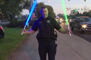 Officer Paul Stabavy uses the Force