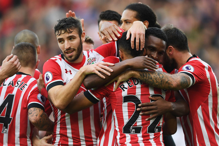 Southampton players celebrate during their win over Burnley (Getty file)