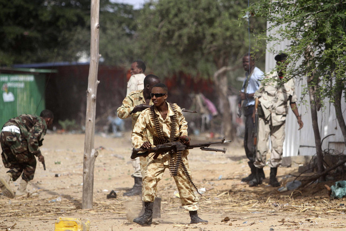 An image from 2012 showing Somali government soldiers fighting an ambush by al Shabaab rebels (Reuters)