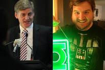 Finance Minister Bill English (L) and Oregon man Bill English