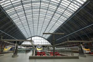 Eurostar trains wait at St Pancras international station in London (Reuters)