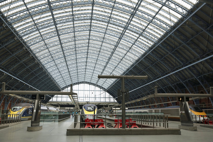 Eurostar trains wait at St Pancras international station in London (Reuters)