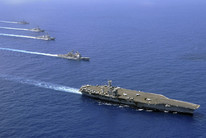 The aircraft carrier USS Nimitz, guided-missile cruiser USS Chosin, guided-missile destroyers USS Sampson and USS Pinckney, and the guided-missile frigate USS Rentz (Getty(