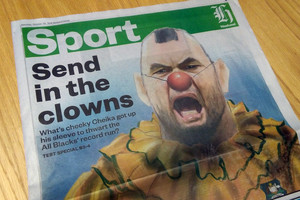 Michael Cheika the clown in the Weekend Herald (Dan Satherley)