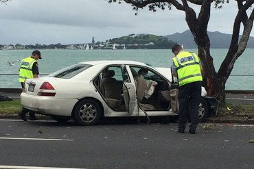 Police at the scene of the accident (Newshub.)