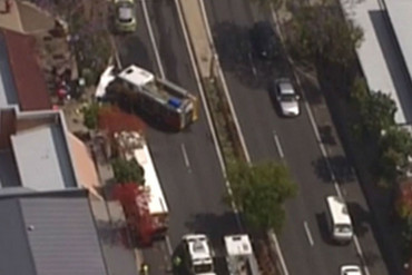Aerial footage of the bus that was set alight (7News)