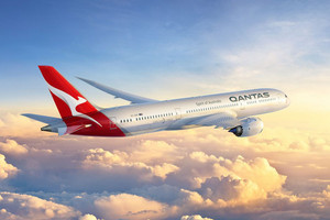 How the new Qantas logo will look in the air (supplied)