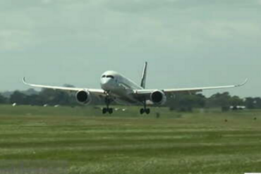 The A350 touching down at Auckland International Airport (Newshub.)