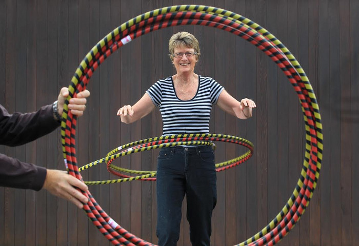 Sue Davies says age didn't stop her turning her passion for hula-hooping into a business (supplied)