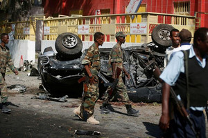 Soldiers secure the scene of an attack by al Shabaab earlier this month (Reuters / file)