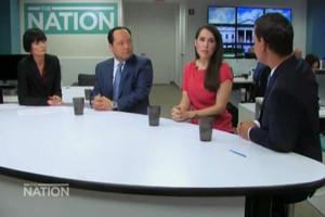 Lisa Owen with The Washington Post's Philip Rucker, Politico's Hadas Gold and Patrick Gower (The Nation)