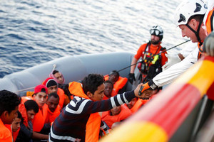 Migrants are seen during rescue operation in the Mediterranean Sea (Reuters / file)