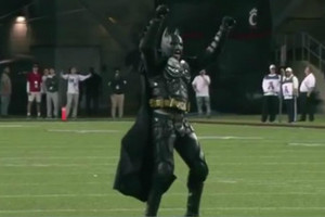 Video: 'Batman' kicks field goal at college football game