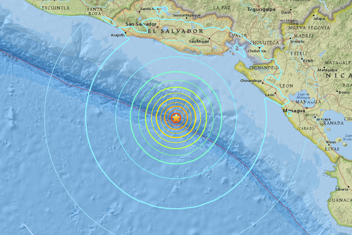 Earthquake strikes off Pacific coast of El Salvador