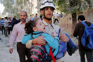 The civil defence is responsible for digging survivors and the dead out of rubble