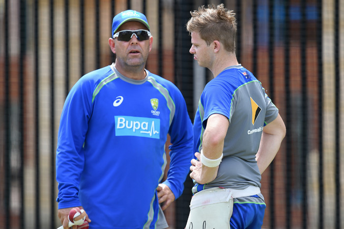 Darren Lehmann and Steve Smith (AAP)