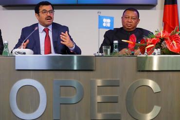 OPEC President Mohammed bin Saleh al-Sada and secretary-general Mohammad Barkindo (Reuters)