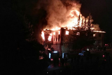 Flames swept through the two-storey dormitory in the town of Aladag late on Tuesday (AAP)