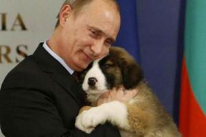 Russian President Vladimir Putin with his dog (file)