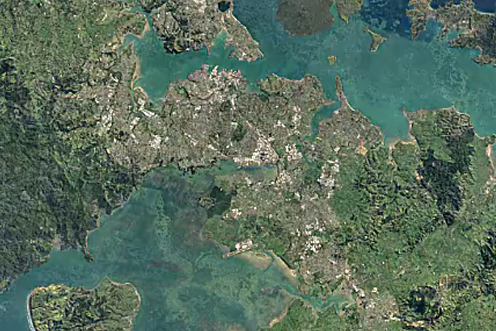 Auckland, from space (Google Earth)