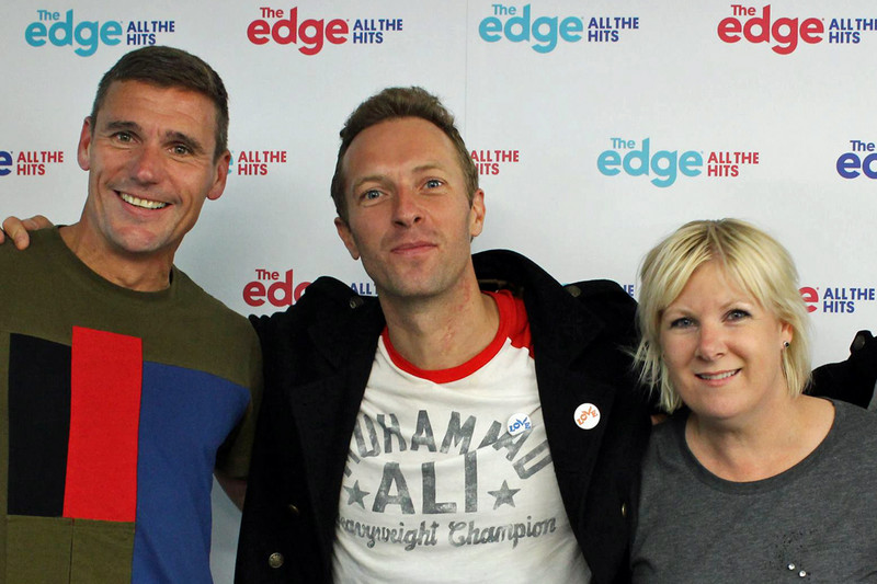 Chris Martin turned up to The Edge to tell Jay-Jay and Dom the ban wasn't his call (The Edge / Facebook)