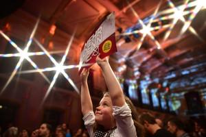 A girl holds up a banner to support Austrian presidential candidate Alexander van der Bellen (Getty)