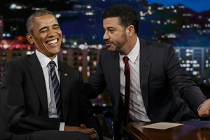 Jimmy Kimmel with President Obama (AAP)