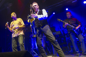 Duncan Campbell, Brian Travers and Robin Campbell of UB40 performing in 2014 (Getty)