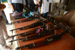 Kalashnikovs (AK-47) are seen at the Arbil Gun Bazaar in Iraq (Getty)