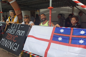 Iwi members travel from Northland for protest against gold mine
