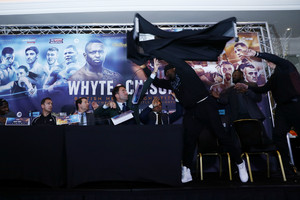 Video: UK boxing heavyweight Dereck Chisora hurls table at Dillian Whyte
