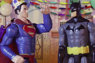 Superman and Batman in one of the Commission for Financial Capability's videos (supplied)