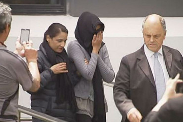 Caregiver Sonali Deo covered her face as she left the court (Newshub.)